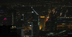 UHD 4K Aerial View Dubai Skyline Emirates Twin Hotel Office Towers Night Lights Stock Footage