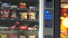 Stock Video Footage of Vending Machine, Chips, Cookies, Candy