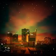 Tausta kaupunki yöllä Piirros