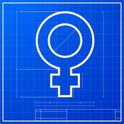 blueprint female symbol - stock illustration