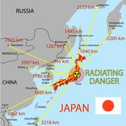 japan map with danger on an atomic power station - stock illustration