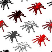 halloween seamless pattern with black spiders - stock illustration