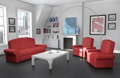Cozy city apartment - stock illustration