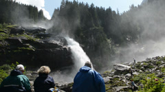 Tourists at Krimml Waterfalls. (Austria) Stock Footage