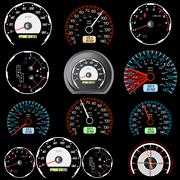 Set of car speedometers for racing design. Stock Illustration