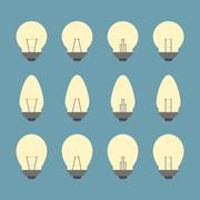 Light Bulbs And Bulb Icon Set Vector - stock illustration