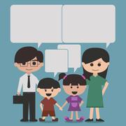 Happy family cartoon character with speak bubbles or speech bubbles Stock Illustration