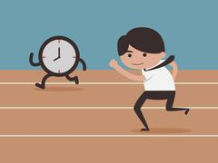 Stock Illustration of Businessman running with time
