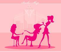 Vector illustration of the beautiful woman in beauty salon Stock Illustration