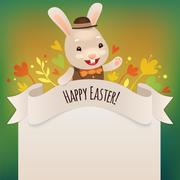 happy easter bunny greeting card - stock illustration