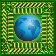 Motherboard globe  background for technology concept design Stock Illustration