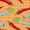 Stock Illustration of seamless vegetable pattern leek and red pepper