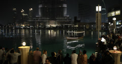 Ultra HD 4K UHD Evening Lights People Crowds Dubai Shopping Mall Boat Trip Night Stock Footage