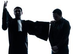 lawyer man pleading silhouette - stock photo