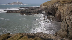 Godrevy lighthouse and island St Ives Bay Cornwall coast England UK Stock Footage
