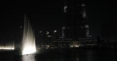 Ultra HD 4K Evening Night Beautiful Dancing Water Fountain Downtown Dubai Lights Stock Footage