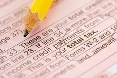 Stock Photo of taxes: total tax line on form 1040