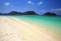 lagoon and white sandy beach at koh lipe - stock photo