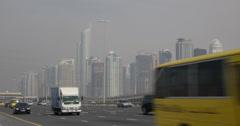 UHD 4K Dubai Marina Cars Commuter Commuting Busy Street Highway Crowded Freeway Stock Footage