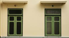 Green classic windows Stock Photos