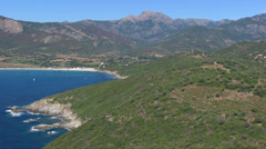 Aerial corsica coastline beach sea Stock Footage