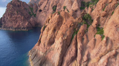 Aerial corsica scandola mountains coast red corse Stock Footage