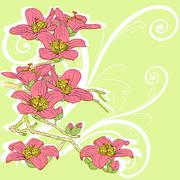 Stock Illustration of tender twig blossoming orchids on a light background