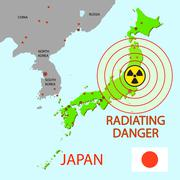 Japan map with danger on an atomic power station Stock Illustration