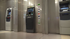 Stock Video Footage of ATM, Automated Teller Machines, Banking