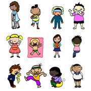 cartoon sick character - stock illustration