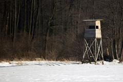 Hunting pulpit in winter Stock Photos