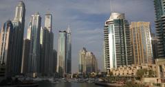 UltraHD 4K Iconic Dubai Marina United Arab Emirates UAE Deluxe Yachts Waterfront Stock Footage