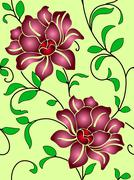 seamless wallpaper  a seam with flower and leaves - stock illustration