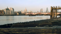 River Thames at low tide - stock footage