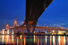 Bhumibol bridge across river with light trail at twilight Stock Photos
