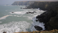 Stock Video Footage of Navax Point Mutton Cove Cornwall coast England UK where seals seen