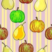 Seamless fruit pattern apples and pears Stock Illustration