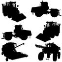 Stock Illustration of agricultural vehicles silhouettes set.