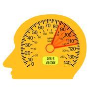 Car speedometer in the human brain Stock Illustration