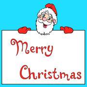 happy santa claus over white blank - stock illustration