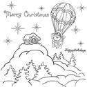 Stock Illustration of cheerful santa claus goes down from the sky on a parachute.