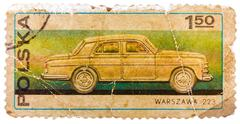 Stamp printed in poland shows passenger car warszawa 223 Stock Photos
