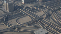 Elevated Interchange Dubai Cityscape Aerial View Busy Street Freeway Highway Day Stock Footage