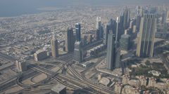 Aerial View Corporate Buildings Busy Freeway Intersection Dubai Rush Hour Cars Stock Footage