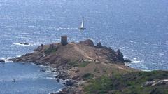 Aerial corsica tower omigna boat sea corse Stock Footage