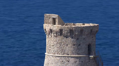 Aerial corsica Tower Omigna Corse Stock Footage