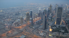 Dusk Light Skyscrapers Rush Hour Dubai Highway Sheikh Zayed Road Busy City Cars Stock Footage