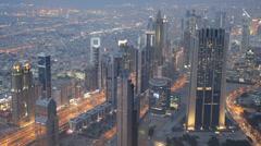 Dusk Night Aerial View Busy Crowds Dubai Skyline Traffic Busy Street Crossroad Stock Footage