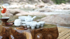 Tea dish set out side Stock Footage