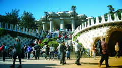 A timelapse shot in Parc Guell, one of the city's major tourist attractions Stock Footage